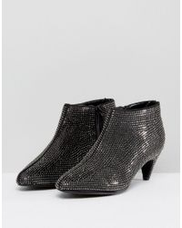 New Look - Black Rhinestone Heeled Ankle Boot - Lyst
