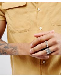 ASOS - Metallic Signet Ring Pack In Burnished Silver for Men - Lyst