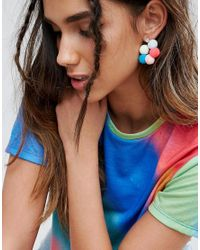 ASOS - Metallic Pom Pom Drop Earrings - Lyst