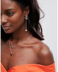 ASOS - Metallic Opal Effect Stone Half Hoop Earrings - Lyst