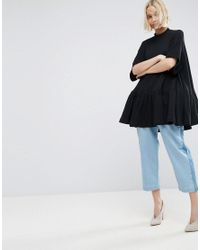 ASOS - Black Oversized Trapeze Top In Waffle Texture - Lyst