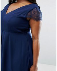 ASOS - Blue Kate Lace Cowl Back Midi Dress - Lyst