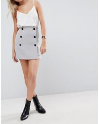 ASOS - Gray Double Breasted Mini Skirt - Lyst