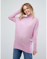 Monki - Purple High Neck Seam Detail Sweater - Lyst