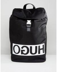37217f00a52 HUGO Reverse Logo Nylon Backpack In Black in Black for Men - Lyst