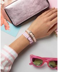 ASOS | Pink Pack Of 2 Gingham Buckle Bracelets | Lyst