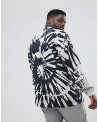 ASOS - Black Plus Oversized Long Sleeve T-shirt With Spiral Tie Dye for Men - Lyst