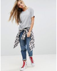 ASOS - Gray Boyfriend T-shirt With Wide Sleeve - Lyst