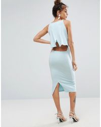 ASOS - Blue Crop Top Midi With Strap Back Dress - Lyst