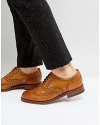 GRENSON Brown Stanley Brogue Shoes for men