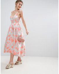 ASOS - Pink Salon Jacquard Strap Back Midi Prom Dress - Lyst