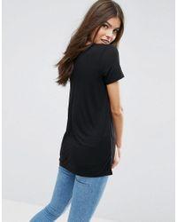 ASOS - Black Lightweight T-shirt With V Neck - Lyst