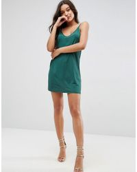ASOS - Green Mini Dress With V Back In Slinky - Lyst