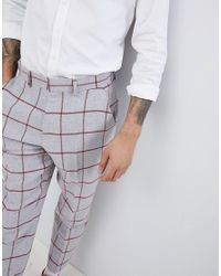 ASOS DESIGN - Design Tapered Smart Pants In Light Gray Wool Mix With Red Check for Men - Lyst