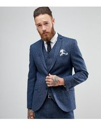 Heart & Dagger. Men's Blue Woven In England Slim Stretch Suit Jacket In  Herringbone Tweed