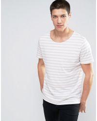 Jack & Jones - White Premium Wide Neck T-shirt In Stripe for Men - Lyst