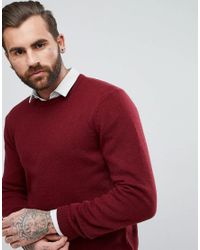 ASOS - Red Lambswool Sweater In Burgundy for Men - Lyst