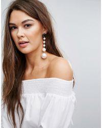 Boohoo - White Pearl Statement Drop Earrings - Lyst