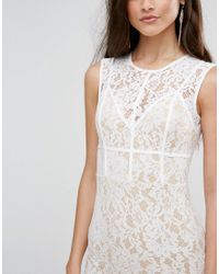Naanaa - White Mini Dress With Eyelash Lace Hem And Piping - Lyst