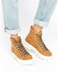 ASOS | Natural Abbith Lace Up Boots | Lyst