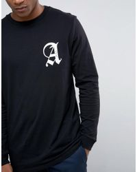 ASOS - Black Longline Long Sleeve T-shirt With Front And Back Print for Men - Lyst