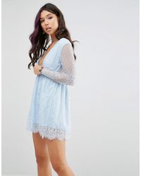 Motel | Blue Wrap Front Skater Dress In Delicate Lace | Lyst