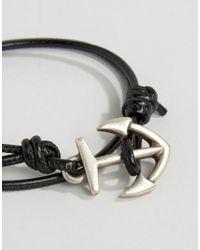 ASOS   Anchor Double Wrap Bracelet In Black for Men   Lyst