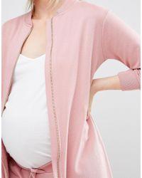 Bluebelle Maternity - Pink Longline Bomber - Lyst