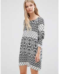 Vero Moda | Black Nancy Boho Printed Tunic Dress | Lyst