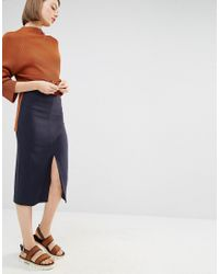 SELECTED | Blue Soma Pencil Skirt With Front Split | Lyst