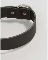ASOS - Black Leather Buckle Choker Necklace - Lyst