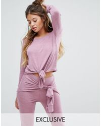 South Beach - Pink Outh Beach Tie Front Long Sleeve Top - Lyst