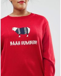 ASOS - Red Christmas Jumper With Bahh Humbug Sheep - Lyst