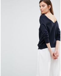 SELECTED   Blue Penna Deep Back Knitted Pullover   Lyst