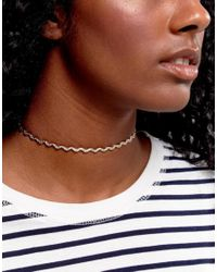 ASOS - Metallic Woven Chain Choker Necklace - Lyst