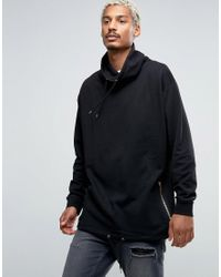 ASOS | Oversized Funnel Neck Sweatshirt With Drawstring Hem In Black for Men | Lyst