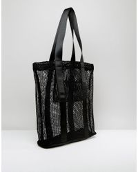 ASOS | Black Lifestyle Mesh And Webbing Shopper Bag | Lyst