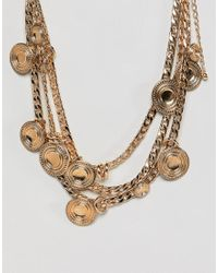 ASOS DESIGN - Metallic Statement Coin And Chunky Chain Multirow Necklace - Lyst