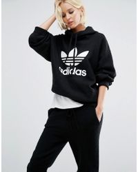 Adidas Originals   Black Originals Boiled Wool Hoodie With Trefoil Logo   Lyst