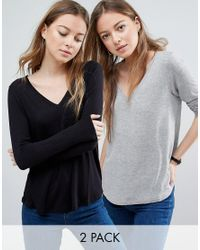 ASOS | Gray The New Forever T-shirt With Long Sleeves And Dip Back 2 Pack Save 10% | Lyst