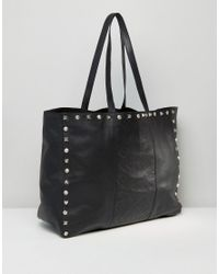 ASOS - Black Leather Embossed And Studded Shopper Bag - Lyst