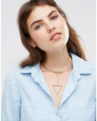 Ashiana | Metallic Torq Choker Necklace With Geo Drop | Lyst