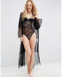 ASOS - Black Mesh Lace Maxi Robe - Lyst