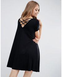 ASOS | Black Swing Dress With Strap Back Detail | Lyst