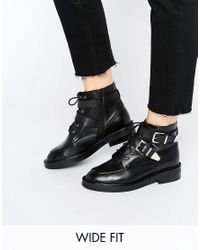 ASOS - Black Abe Wide Fit Leather Ankle Boots - Lyst