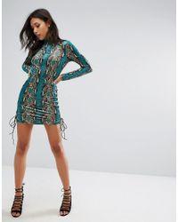 PRETTYLITTLETHING - Green Snake Print Velvet Tie Detail Dress - Lyst