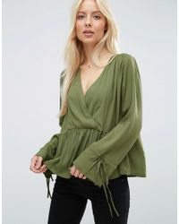 ASOS | Green Oversized Wrap Blouse With Dip Hem | Lyst