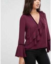 ASOS - Purple Ruffle Blouse With Velvet Trim - Lyst