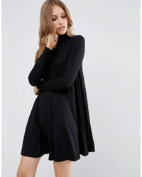 ASOS | Black Swing Dress With Polo Neck & Long Sleeves | Lyst