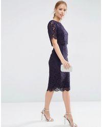ASOS - Blue Lace Crop Top Midi Pencil Dress - Lyst